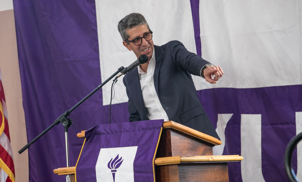 Jason Flom, CEO of Lava Records, advisory board member of NYU PEP and recipient of the After Now Service Award, addresses the audience at the first graduation ceremony of the New York University Prison Education Program (NYU PEP) at Wallkill Correctional Facility, October 12, 2017. NYU PEP is a college program that offers credit-bearing courses and educational programming leading to an Associate of Arts Degree from New York University in Liberal Studies to men incarcerated at Wallkill Correctional Facility, located in Ulster County, New York. (Credit: Kate Lord / New York University)