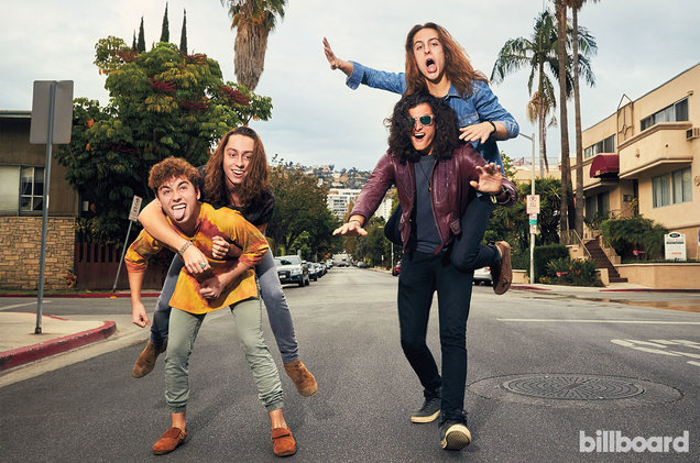 From left: Josh Kiszka, Jake Kiszka, Sam Kiszka and Wagner of Greta Van Fleet photographed on Nov. 2, 2017 at Le Parc Suite Hotel in West Hollywood.